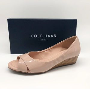Cole Haan Open Toe Wedge size 8 B Mahogany Rose